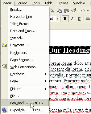 Creating Bookmarks in Microsoft FrontPage - Office Articles
