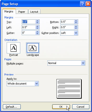begin with a new blank document from the file menu choose page setup use 05 margins all the way around and set the page orientation to landscape